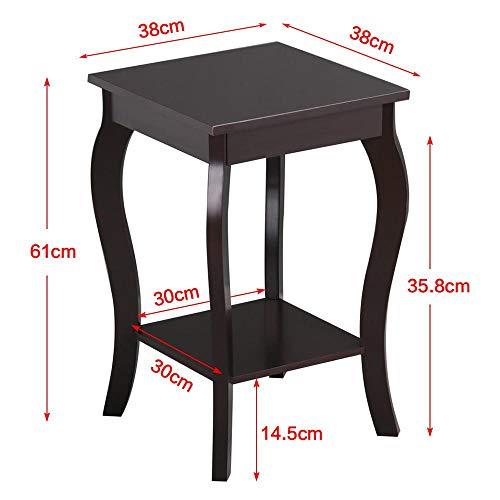 Yaheetech tavolino lato divano da caff salotto moderno comodino a 2 ripiani da camera da letto - Camera da letto marrone ...