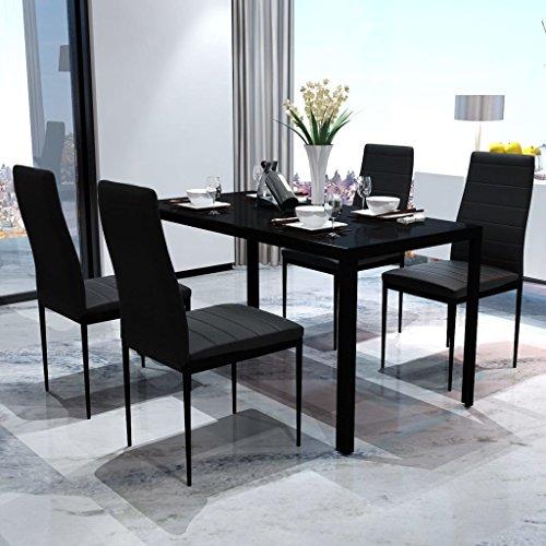 Vidaxl set tavolo e sedie in similpelle 5 pz casa cucina for Sedie salone moderne