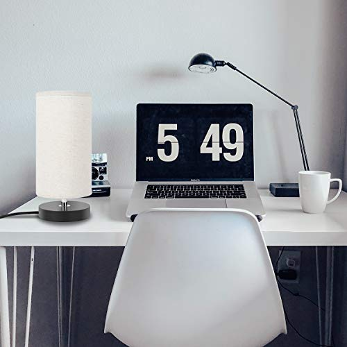 Lampada da comodino kakanuo lampada da tavolo rotonda paralume in tessuto base in legno nero - Lumi da camera da letto ...