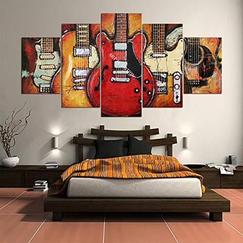 Fjlove quadri moderni su tela chitarra astratta musica for Quadri decorativi arredamento